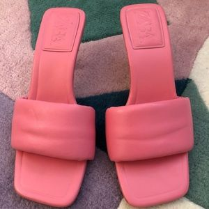 Heeled Quilted Sandals - Pink - 6.5 - Worn Once